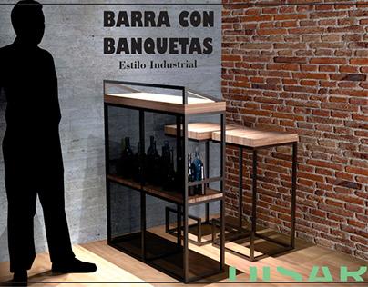 Barra y banquetas estilo industrial