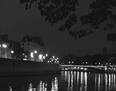 Paris at Night in Black & White