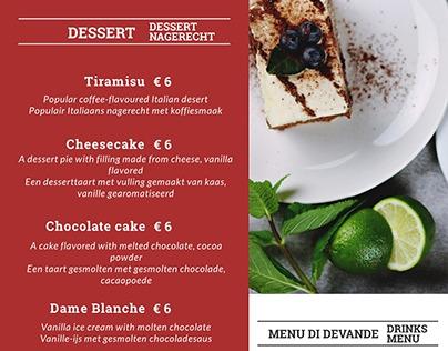Dessert menu for Il Centro Amsterdam, The Netherlands.