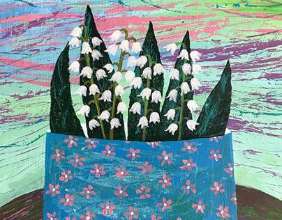 Flowers monotypes acrylic
