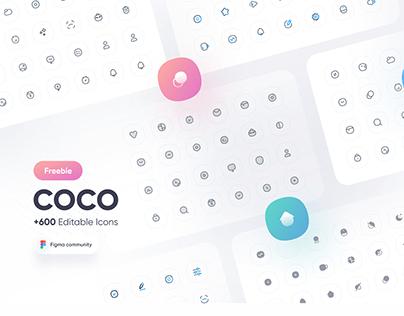 Freebie - COCO icon pack +600 Editable icons