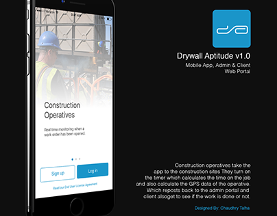 Drywall Aptitude Mobile App UI Design