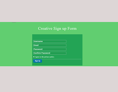 Crative Sign Up From with Gravity