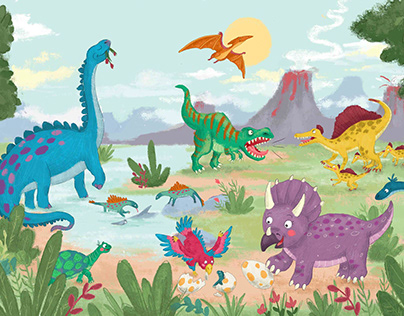 Young traveler in the world of dinosaurs