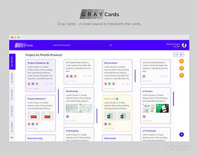 Gray Cards - web application UI