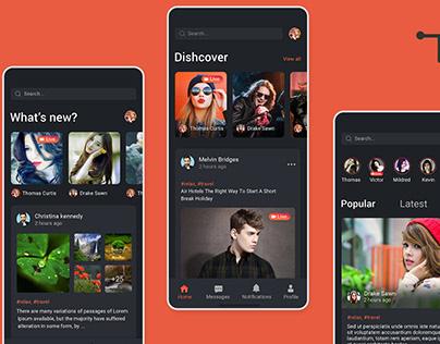 New social App Ui concept Dark theme PSD