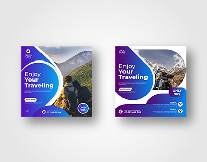 Travel Agency Social Media Post Template vol- 3