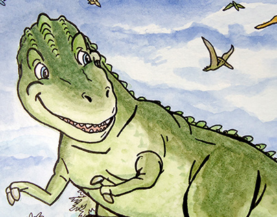 Max's Dinosaurs- Watercolor Ink Illustration Characters