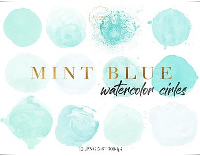 Mint blue watercolor cirles clipart