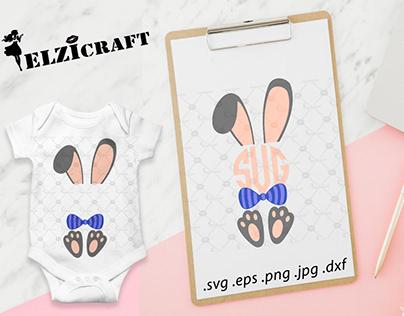 Easter Bunny Boy Monogram Design / SVG Cut File