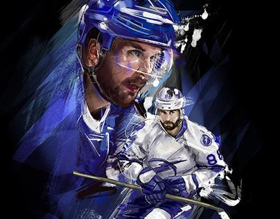 Hockey poster. Nikita Kucherov portrait. NHL