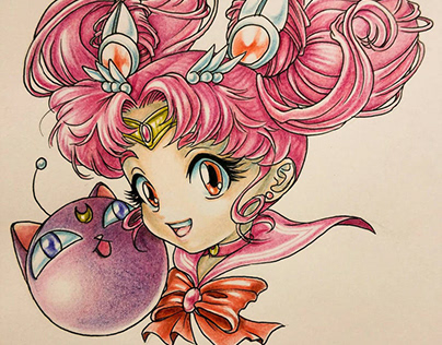 Sailor Moon Characters in Coloured Pencils
