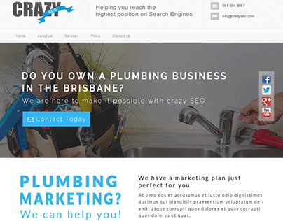 Crazy Seo Landing page for Plumbing Business
