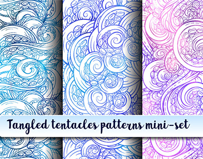 Tangled tentacles colorful mini-patterns set.