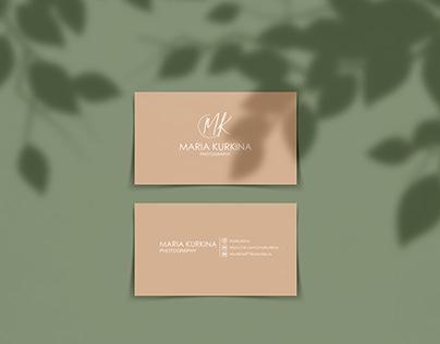Дизайн визитной карточки и логотипа для фотографа
