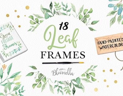 Leaf Frames Watercolor Leaves Nature Border Set