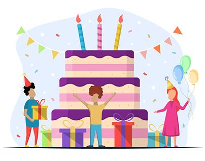 Children with Giant Cake Vector Illustration