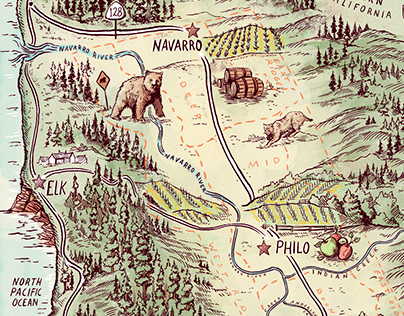 Wine & Spirits Mag Anderson Valley illustrated map