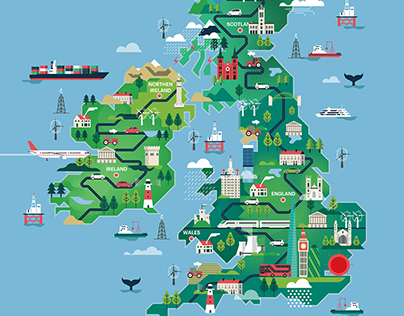 Shorlist mag - UK & Ireland map illustration
