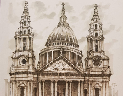 St Paul's Cathedral, London - Ink Drawing
