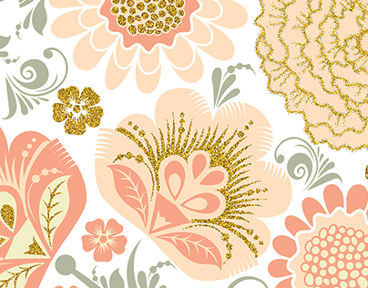 Vector Glitter Floral Peach Day collection.