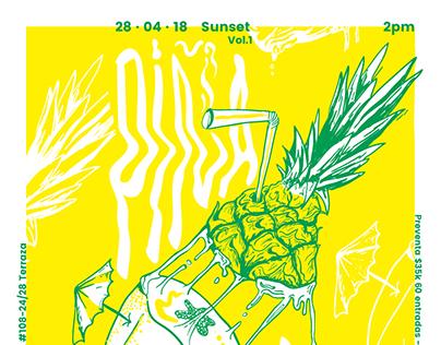 Piña y Papaya Poster