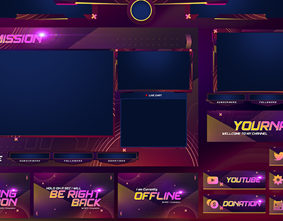Twitch Overlay, Panels and Youtube Template