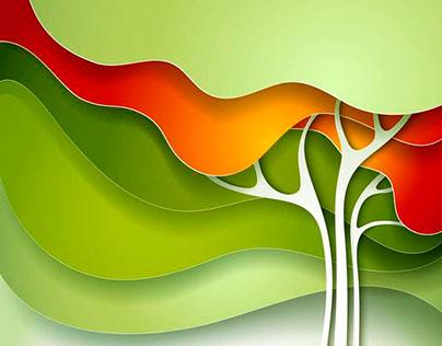 Nature background. Color paper design. Vector.