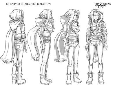 City of Sirens Main Character Rotation Design Sheets