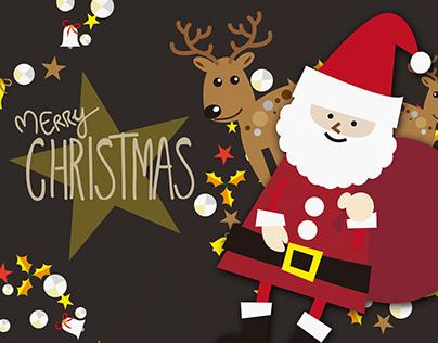 Merry Christmas postcard and poster design 2016
