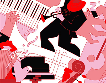 Jazz. Sketch for a mural