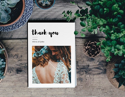 Simple Brush Wedding Thank You Card