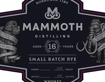 Mammoth Distilling Labels Rendered by Steven Noble