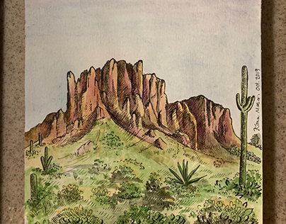 Pen and Watercolor: Superstition Mountains