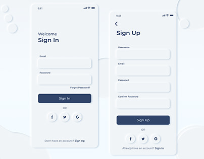 sign up and sign in neomorphism ui