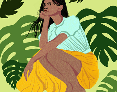 Woman and Philodendron