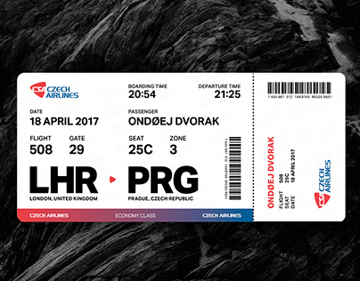 Typography 2 | Czech Airlines Boarding Pass.