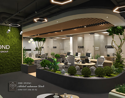 Design of office space with garden inside
