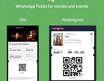 BookMyShow WhatsApp and Email Ticket