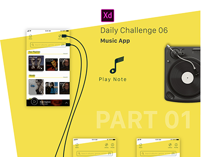 Adobe XD Daily Challenge #06 - #07 - #08 ---- Music App