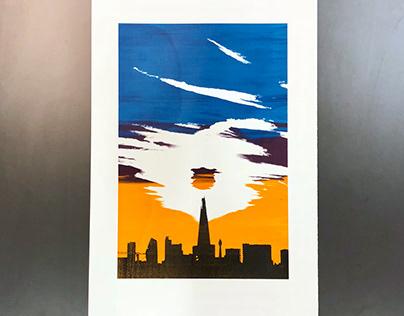 Sunset over the Shard – Silkscreen Print
