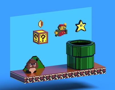 Super Mario Bros Voxel Art