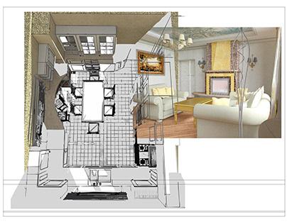 Проект дизайна интерьера. Дом жилой 1-этажный.