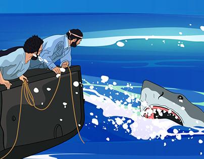 Jaws the movie digital illustration