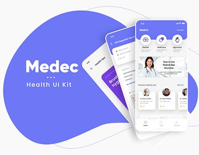 Medec Health app UI Kit - Freebie