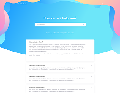 Landing Page / Help Center