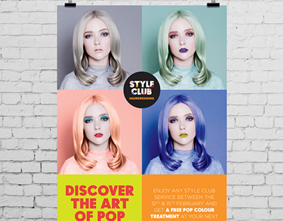 Pop Colour - Style Club hairdressing poster