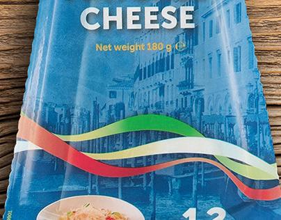 Unilac Grand'Or packaging designs Italian cheeses
