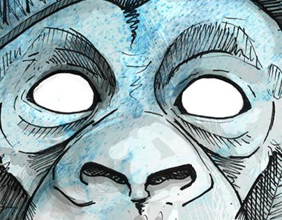 Watercolor Monkey Face