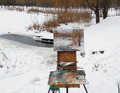 Winter plein air painting
